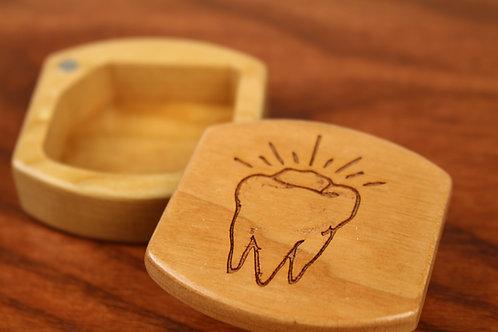 Baby Tooth   Natural Wood Magnetic Keepsake Box   Laser Engraved