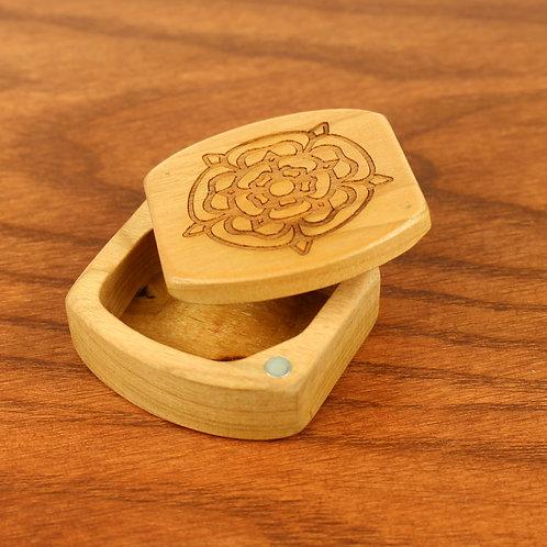 English Tudor Rose | Natural Wood Treasure Box | Laser Engraved
