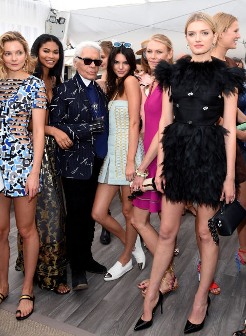 Eniko Mihalik, Chanel Iman, Karl Lagerfeld, Kendall Jenner and Lily Donaldson.jpg