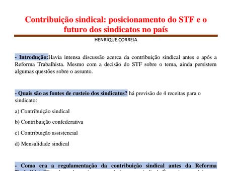 Contribuição sindical: posicionamento do STF e o futuro dos sindicatos no país