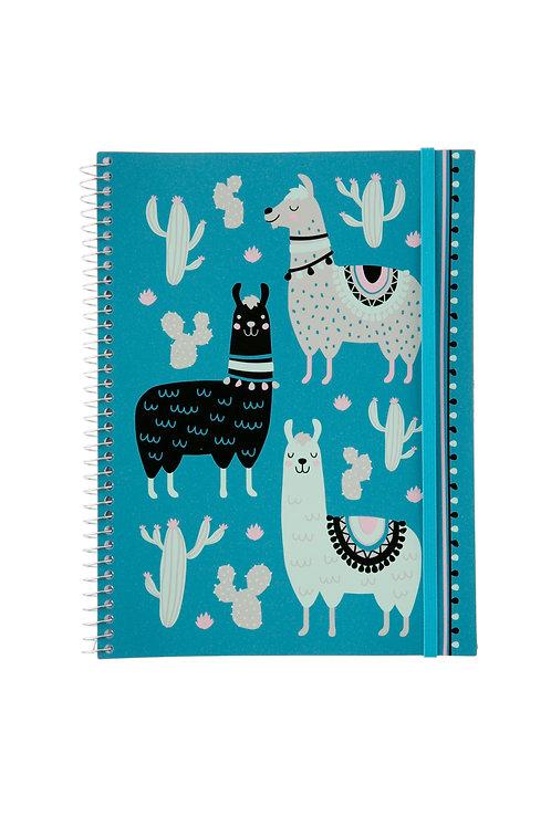 Caderno Universitário 1 matéria 96fls - Zoo Lhamas