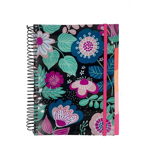 Caderno Divisória Flores Preto