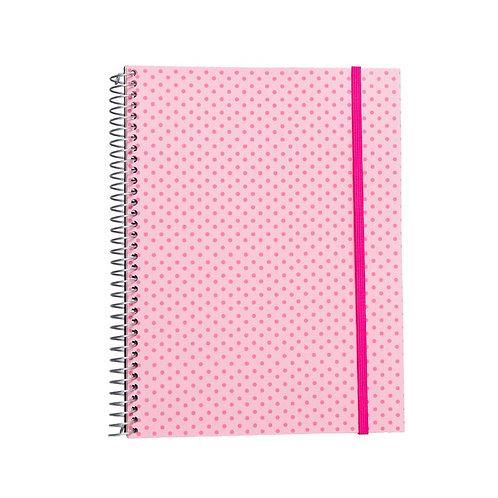 Caderno Universitário 10 matérias 200fls - Círculos Rosa Claro