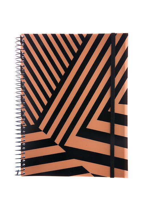 Caderno Universitário 10 matérias 200fls - Ouro Diagonal Preto