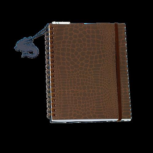 Caderno Médio 96fls - Croco Marrom