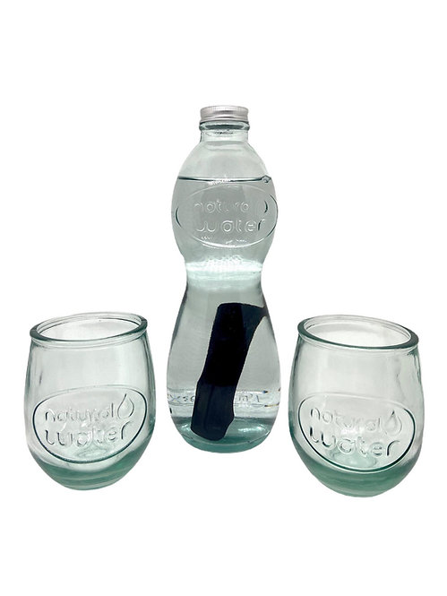 Set Carafe Natural Water + 2 verres + 1 charbon Woody binchotan