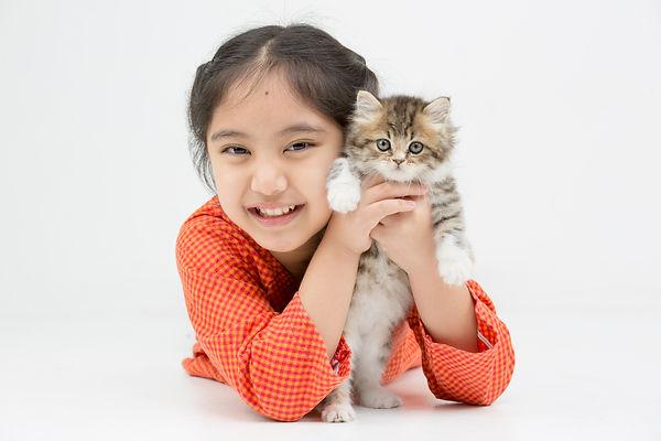 Little Asian girl hugging lovely Persian