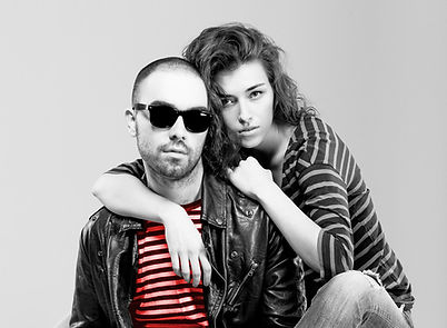 hip couple black and white