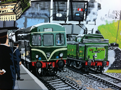 Great Northern railway tank engine and the diesel railcar