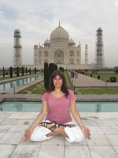 Yoga in front of the Taj Mahal
