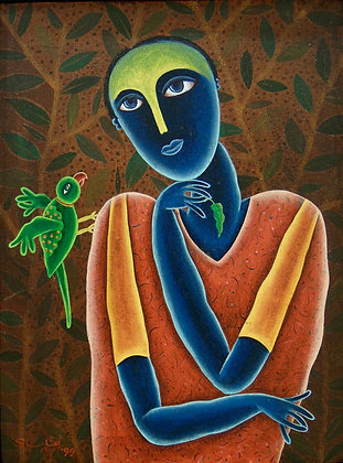 Girl with a Bird by SHAHID PARVEZ, Indian Figurative art, Art Forum, Art for homes and offices