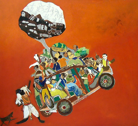 We the People by NARENDRA PAL SINGH, Indian Figurative Painting, Art Forum, Art for homes and offices
