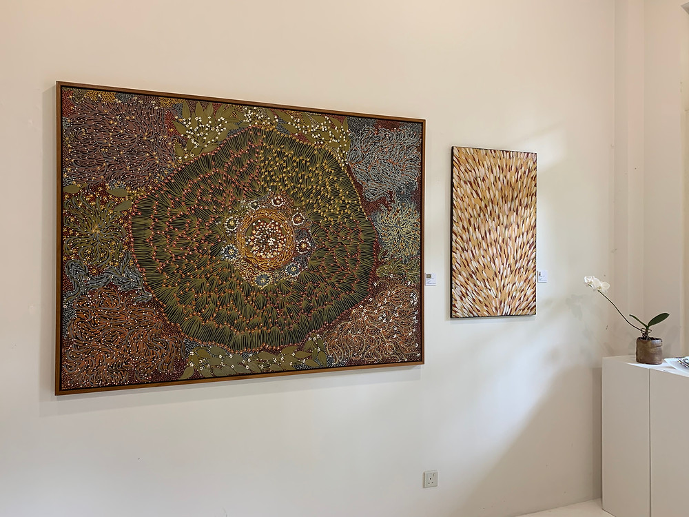 The Aboriginal art on the wall at Art Forum