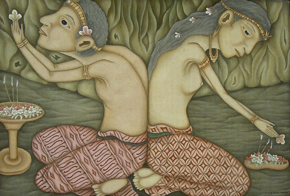 Lanang Wadon by DEWA PUTU MOKOH, Indonesian figurative art, Balinese art, Art Forum, Art for homes and offices