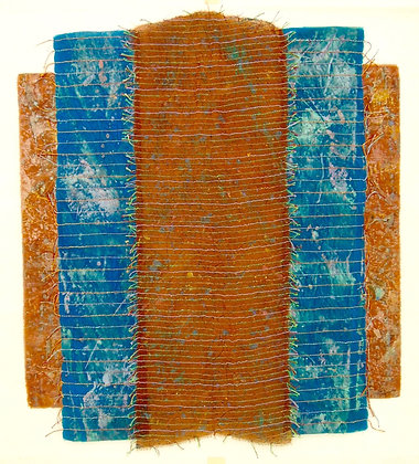 Terracotta-Turquoise by HELYNE JENNINGS, British abstract art, British fabric art, Art Forum, Art for homes and offices
