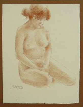 Nude (brown) by TERESITA F. DICHUPA, Filipino figurative art, nude,  Art Forum, Art for homes and offices