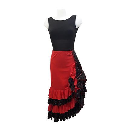 Jupe de Flamenco - rouge et volants noirs