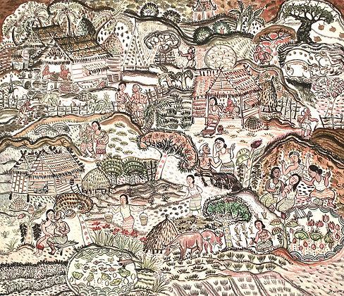 Thai Rural Life I by DEN WARNJING, Thai art, Art Forum, Art for homes and offices