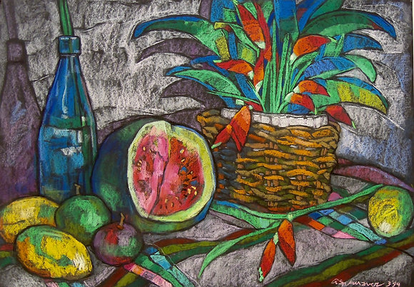 Still Life with Watermelon by ARLENE VILLAVER, Filipino Still Life, Southeast Asian art, Art Forum, Art for homes and offices