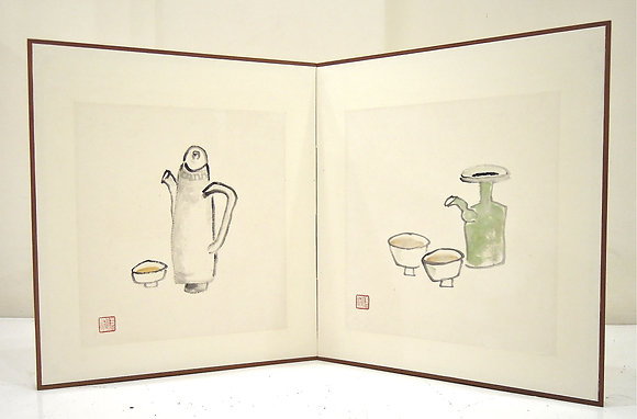 Tea Pot with a Cup and Wine Pot with Two Cups by LING YANG CHANG, Singapore Art, Art Forum, Art for homes and offices