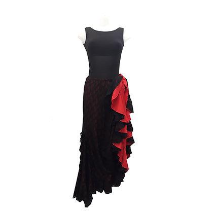 Jupe de Flamenco - dentelle noire sur fond rouge