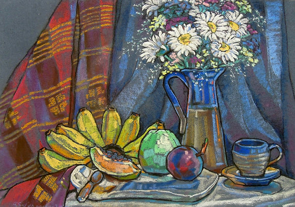 Still Life with Bananas by AELENE VILLAVER, Filipino Still Life, Southeast Asian art, Art Forum, Art for homes and offices
