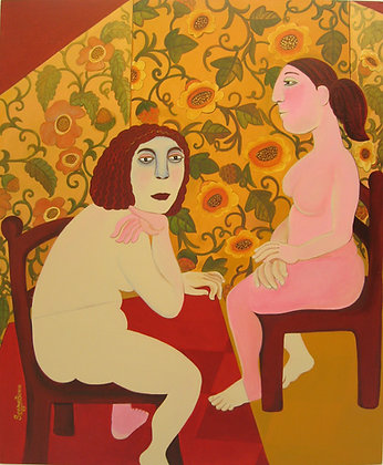 Two Figures by SEEMA BARNA, Indian figurative art, Art Forum, Art for homes and offices