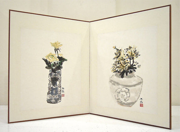 Chrysanthemums and Yellow Roses in Vases by HOU HSI CHING, Art Forum, Art for homes and offices, Singapore art