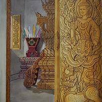 Surasit, Temple Interior, 1980s, mixed m