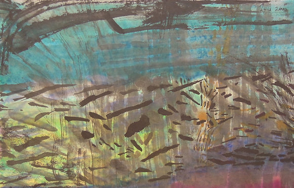 A Blue stream by NG JOON KIAT, Art Forum, Art for homes and offices, Singapore abstract art