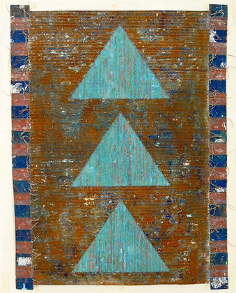 Three Triangles by HELYNE JENNINGS, British abstract art, British fabric art, Art Forum, Art for homes and offices