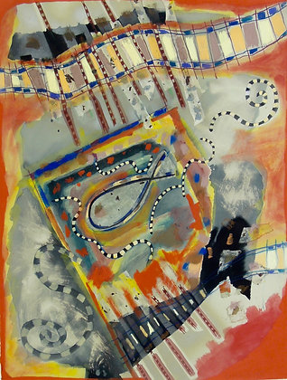 Ethnic Fish by GILL HEWITT, British abstract art, British mixed media art, Art Forum, Art for homes and offices