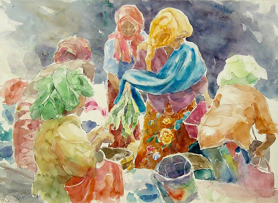 Market Scene-Terengganu II by USMAN ETEE, Malaysian figurative art,Malaysian watercolour,Art Forum, Art for homes and offices