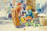 Usman Etee, Market Scene, 1993, watercol