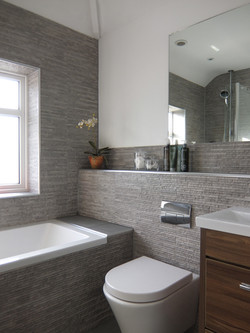 Textured tiled bathroom