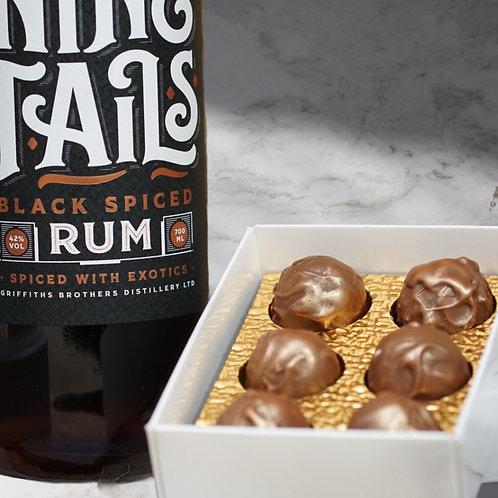 Nine Tails Black Spiced Rum with 6 x Black Spiced Truffles