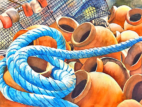 Trapped, Betty Rogers, Watercolor - WC on Paper Octopus Traps, 12 x 16