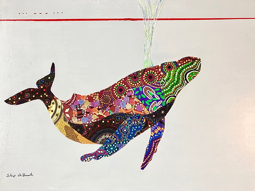 Aboriginal Quilt Whale, Skip DeBrusk, Mixed Media -  ,  18 x 24