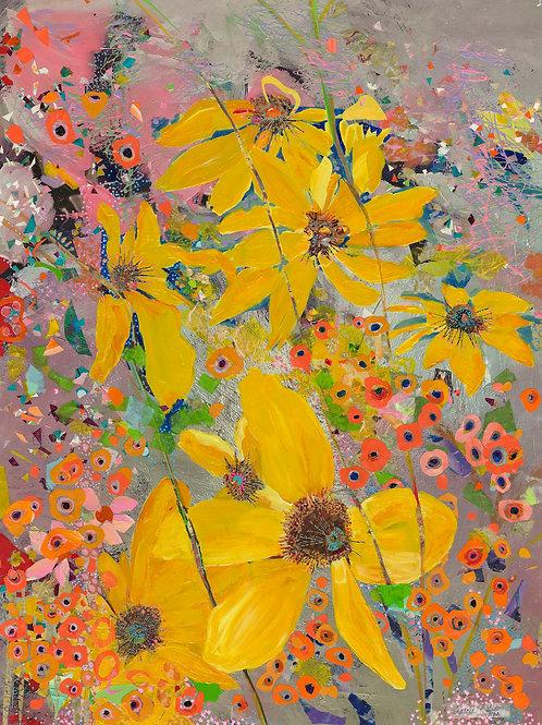 Yellow Flower, Marcia Ballou, Mixed Media, 40 x 30