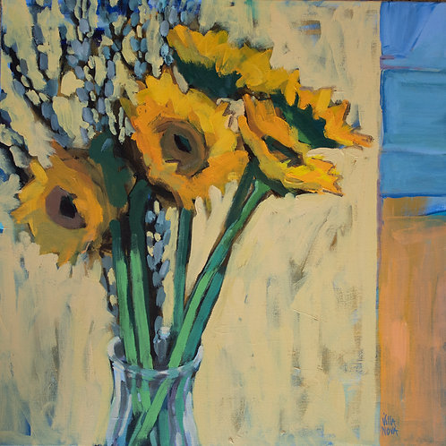 Sunflowers and Pussywillows, Paula Villanova, Acrylic, 18 x 18