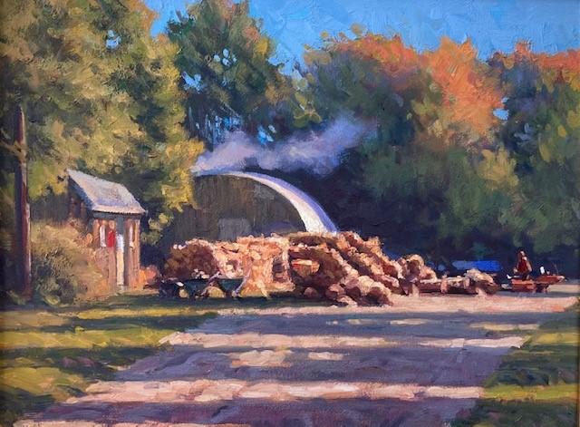 """""""Wood Pile"""", Oil, 11""""x14"""""""
