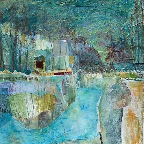 River Retreat, Mary Jo Beswick, Mixed Media -  mixed media collage,  11 x 11