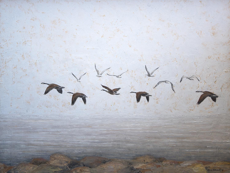 """Honking Over Brant Rock Study"", Oil, 12""x16"""