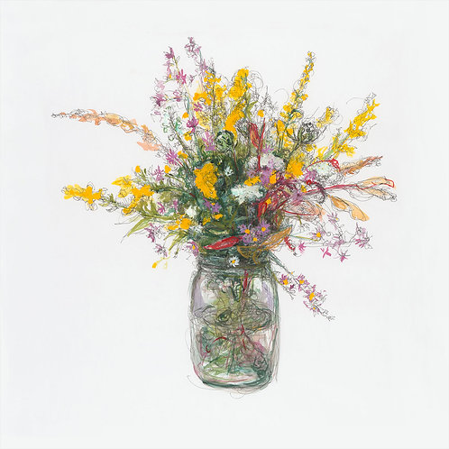 Fall Wild Flowers, Megan Chiango, Mixed Media, 19 x 19