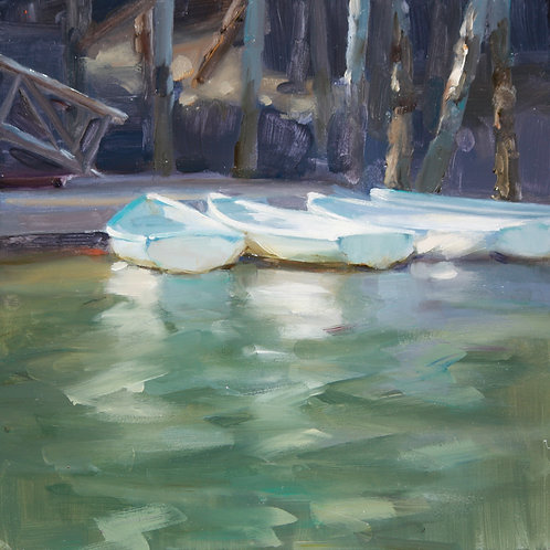Dories, Joreen Benbenek , Oil - oil seascape, 10 x 10