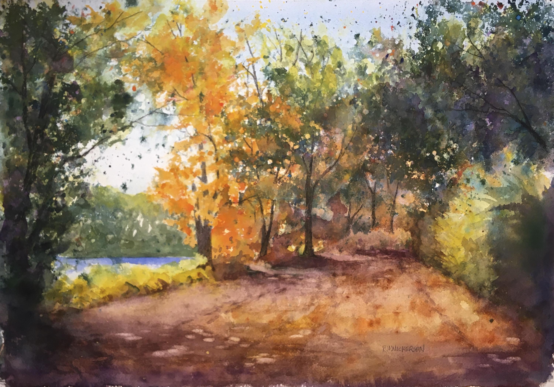 """Road into Autumn"", Watercolor, 14""x20"""