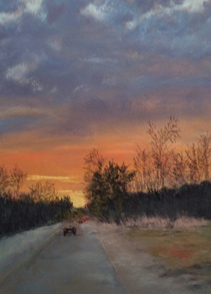 """Sunset on VFW Drive"", Soft Pastel, 12""x9"""