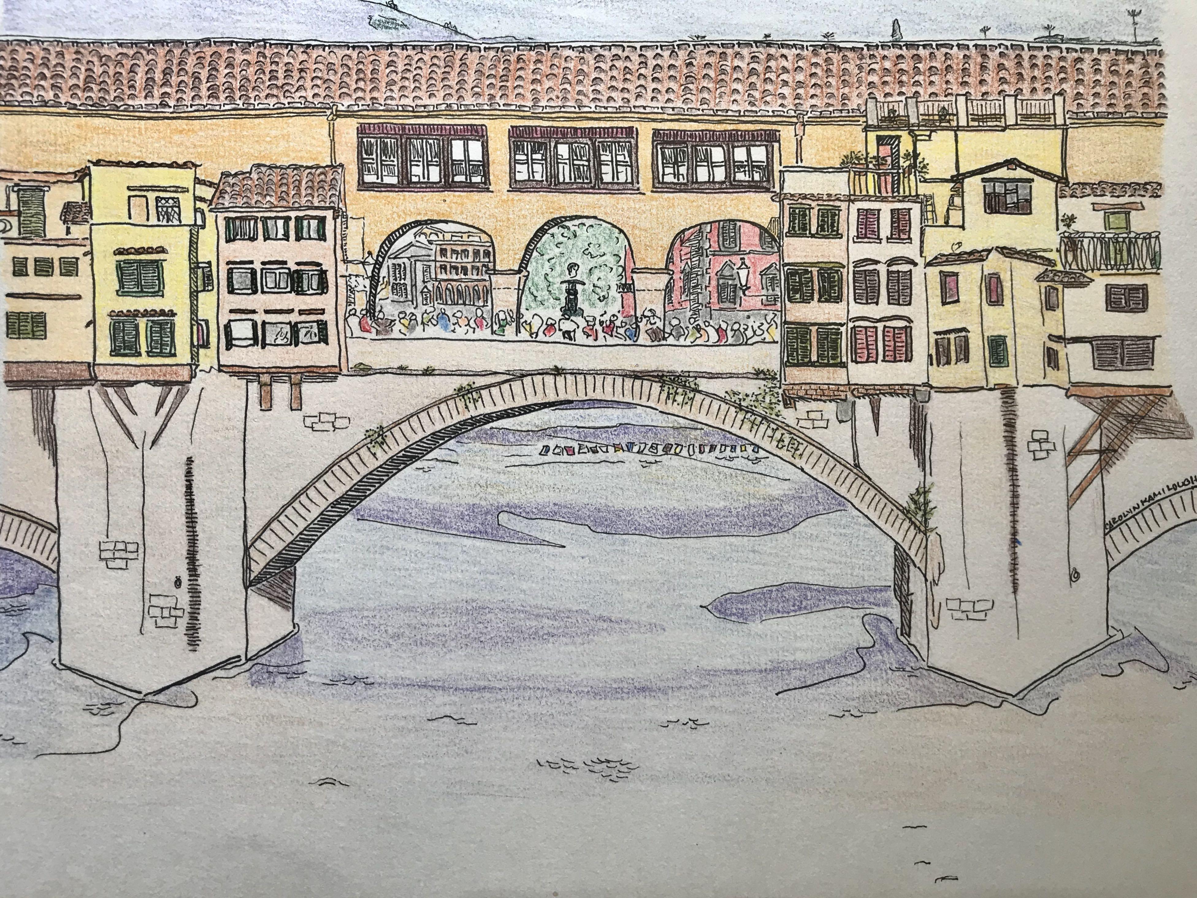 """Pontevecchio"", Colored Pencil, 9.25""x6"""