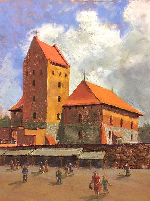 Trakai Castle, Dana Barunas, Pastel - soft pastel on Pastelmat paper, 14 x 11