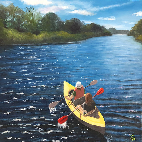 A Sunday Paddle, Lori LeDoux, Oil - Oil paint, 10 x 10
